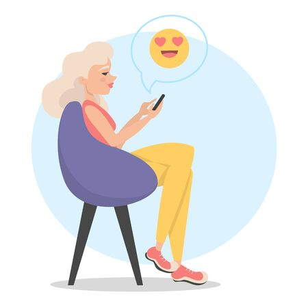 Woman sitting in the chair and chatting in the mobile phones. Internet communication. Emoji symbol for chatting.