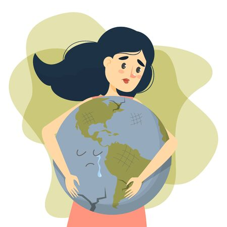 Woman hug earth vector isolated. Save the earth concept. Girl holding a big globe. Nature lover, ecology friendly lifestyle. Planet crying.