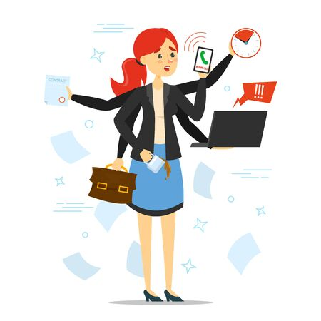 Busy woman trying to do many things at once vector isolated. Stressful multitasking person and deadline. Overworked female character with phone, laptop and documents. Too much work.