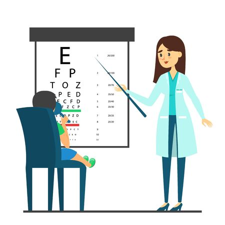 Female beautiful doctor oculist standing at the eyesight check table vector isolated. Ophthalmology examination, medical person pointing at letter, kid patient sitting on chair. Ilustracja