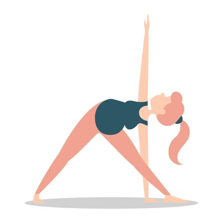Pregnant woman standing in triangle pose vector isolated. Warrior position. Healthy and active lifestyle. Lady expecting baby.
