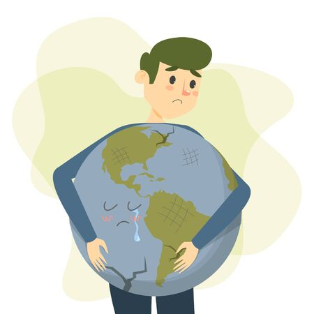 Man hug earth vector isolated. Save the earth concept. Boy holding a big globe. Nature lover, ecology friendly lifestyle. Sad Earth crying.