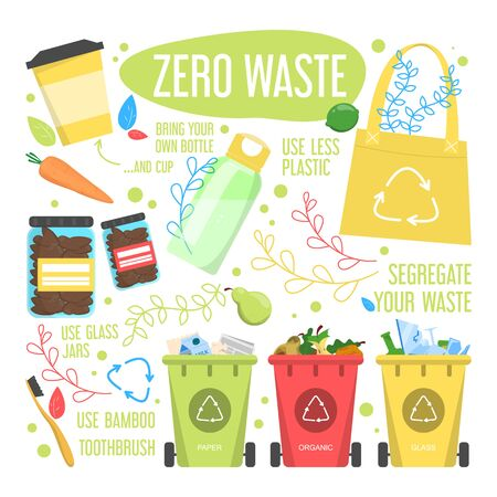 Zero waste lifestyle rules vector isolated. Reduce plastic waste, use organic products. Paper bag, wooden toothbrush and personal water bottle as a starter kit.
