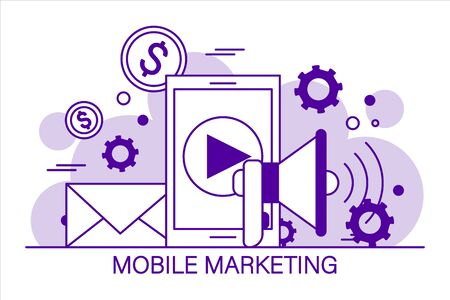 Mobile marketing vector isolated. Concept illustration in flat line style. Internet commerce, communication in app. 일러스트