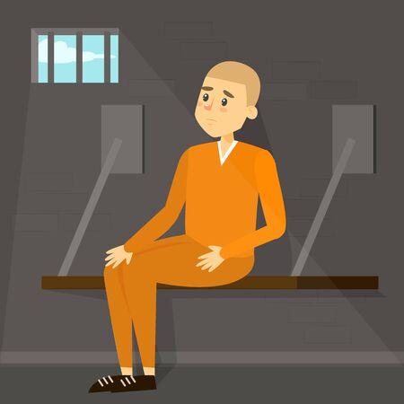 Sad man sitting in prison. Person in orange clothing locked in the cell. Jail punishment. Man imprisoned, murderer or robber under sentence