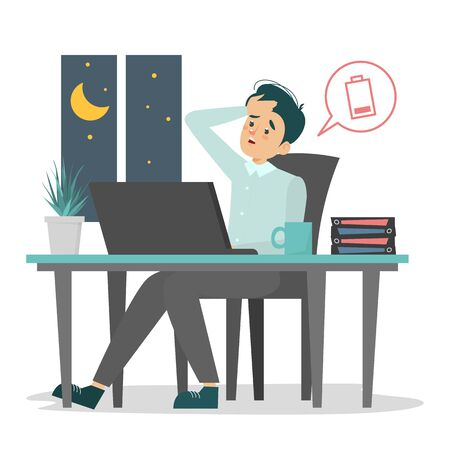 Tired office worker sitting at the desk vector isolated. Man at the workplace late at night. Low battery symbol, person is tired. Deadline time.