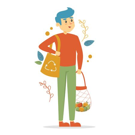 Ecology friendly man vector isolated. Male person with eco bag walking from the shop. Say no to plastic.
