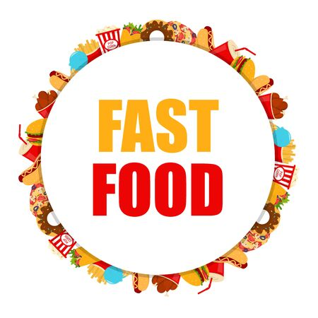 Web banner with tasty fast food vector isolated. Special offer for burger and french fries. Fastfood restaurant advertising in the internet. Ilustrace