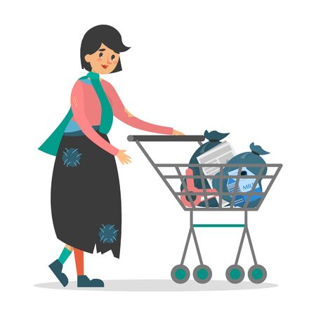 Homeless woman walkign with a shopping cart vector isolated. Female person in old and dirty clothes pushing the cart full of bags and garbage.
