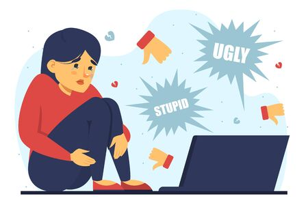 Sad girl suffering from cyberbullying vector isolated. Teenager sitting and looking at the laptop computer. Social problems, bullying in the internet.