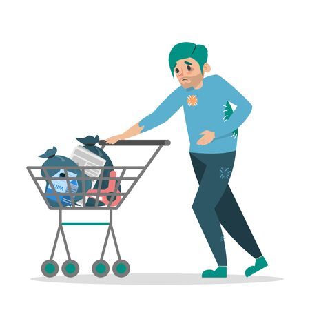 Homeless man walking with a shopping cart vector isolated. Male person in old and dirty clothes pushing the cart full of bags and garbage. Illustration
