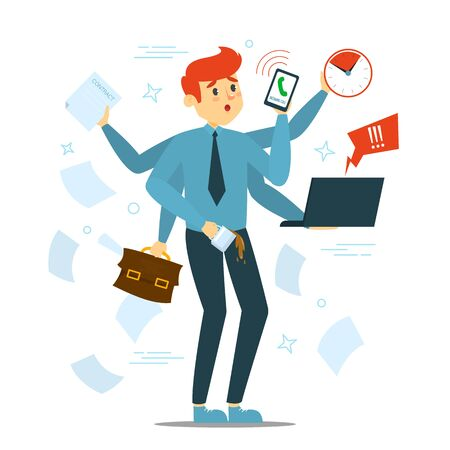Busy man trying to do many things at once vector isolated. Stressful multitasking person and deadline. Overworked male character with phone, laptop and documents. Too much work. Vektorové ilustrace