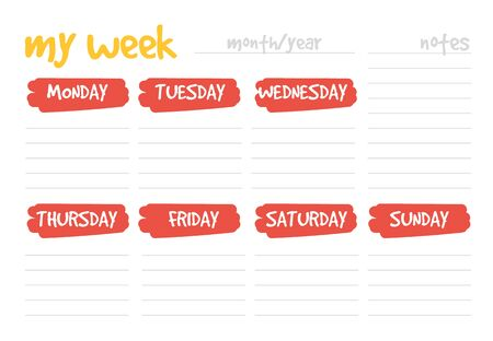 Weekly planner design template vector isolated. Week schedule, printable calendar. Colorful element on banner. 向量圖像