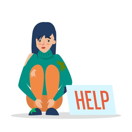 Help for homeless web banner design. Poor woman in dirty clothes sitting on the street and begging for money. Female beggar.