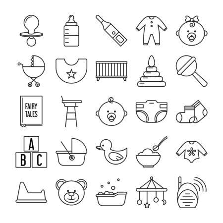 Jeu d'icônes liées au nouveau-né vecteur isolé. Symboles dans le style de ligne. Signes de jouet, de lit et de bébé. Collection de pictogrammes mignons.