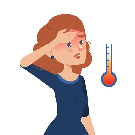 Woman with fever vector isolated. Person is sick, virus disease. Unhealthy girl with flu or cold touching her forehead. Symptom of coronavirus. 向量圖像