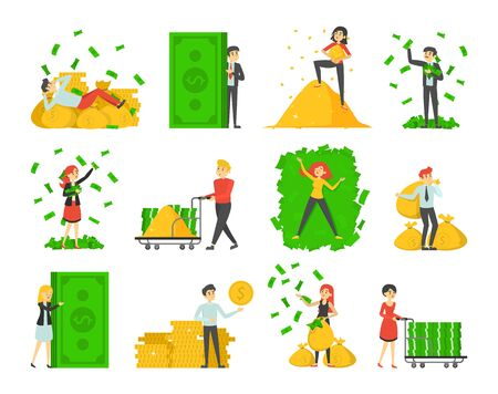 Collection of rich people vector isolated. Happy wealthy characters possess a lot of banknotes and coins. Financial success. Money bags.