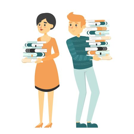 Man and woman holding book stack vector isolated. Young smiling adult studying. Concept of education and learning. Illustration