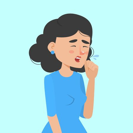 Woman coughing and holding fist at mouth vector isolated. Person with virus, infectious disease. Female person with symptom of cold, flu or coronavirus. 向量圖像