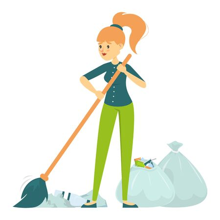 Female volunteer sweeping vector isolated. Cleaner working. Collecting garbage from the streets in bags. Ecology friendly lifestyle.