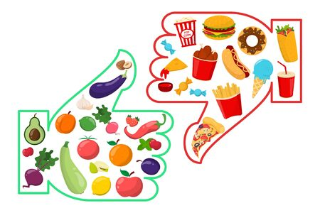 Healthy vs junk food vector isolated. Unhealthy lifestyle with french fries, hamburger and sugar food. Healthy nutrition includes vegetables and fruits. Vektoros illusztráció
