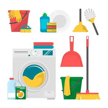 Home cleaning products and tools set vector isolated. Washing machine, bucket and mop, toilet plunger and brush. Clean and disinfect your home.