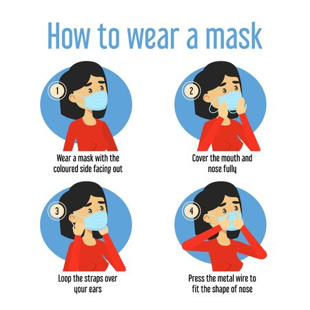 How to wear a medical mask instruction vector isolated. Protect yourself from coronavirus and other infectious disease. Health protection.
