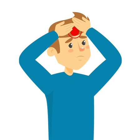 Young man suffer from headache vector isolated. Stress from pain in head. Male character holding head, sad facial expression. Vettoriali