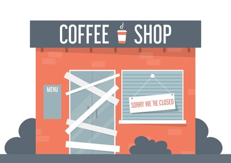 Closed coffee shop vector isolated. Sorry we are closed, idea of bankruptcy and coronavirus pandemic. Front view of thw store building.