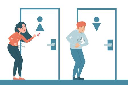 People with a diarrhea waiting at the toilet door vector isolated. Man and woman with pain in stomach. Belly disease. Person needs to get to the toilet.