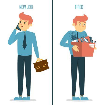 Nuevo trabajo vs concepto despedido. Hombre feliz en el nuevo trabajo y triste chico despedido con caja. Idea de desempleo y crisis. Empleado bajo estrés.