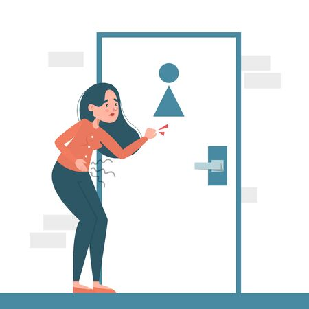 Woman with a diarrhea waiting at the toilet door vector isolated. Girl with pain in stomach. Belly disease. Person needs to get to the toilet.