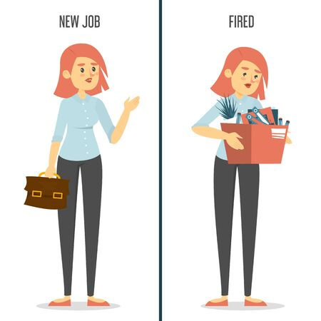 New job vs fired concept. Happy woman on new work and sad dismissed lady with box. Idea of unemployment and crisis. Employee under stress. Stock Illustratie