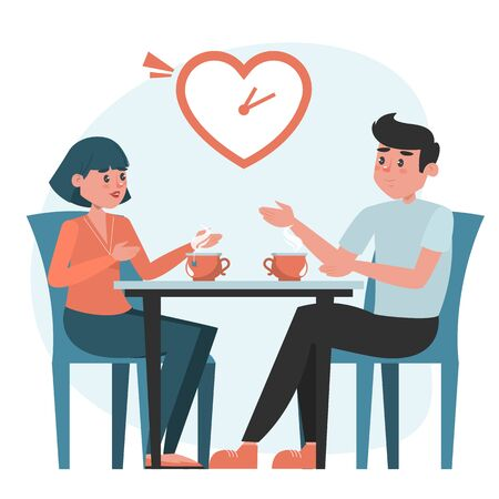 Man and woman on a speed dating vector isolated. Romantic couple at the table. Short date, people checking compatible.