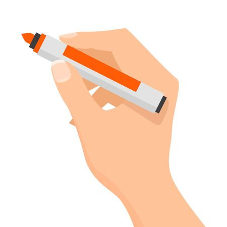 Hand holding a red felt-tip pen vector isolated. Office supplies and school equipment. Handwriting tool.