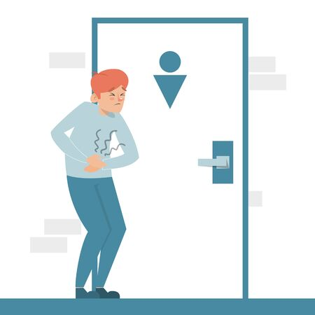Man with a diarrhea waiting at the toilet door vector isolated. Guy with pain in stomach. Belly disease. Person needs to get to the toilet. Stock Illustratie