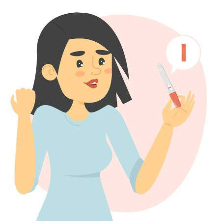 Happy woman holding a negative pregnancy test vector isolated. Congratulations, you are not pregnant. Woman is not ready for maternity.