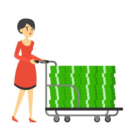 Rich woman in red dress carrying hand truck full of money vector isolated. Happy wealthy character possess a lot of banknotes. Financial success Vettoriali