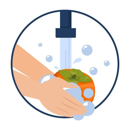 Hand washing persimmon vector isolated. Wash fruits and vegetables before eating concept. Healthy lifestyle tips. Clean fruit in water and soap. Vectores