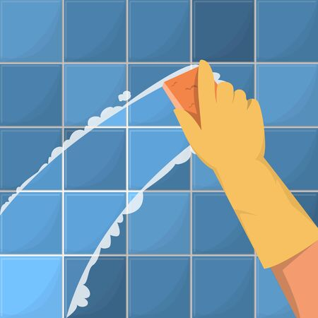 Hand in the yellow glove washing the wall using sponge vector illustration. Wall in the bathroom, housework. Domestic life.