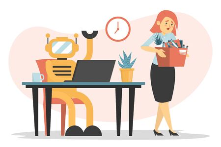 Human vs robot vector isolated. Sad woman with box leaving the office. Dismissed female employee and artificial intelligence replaces her. Illustration