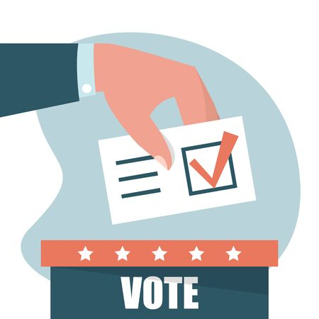 Hand puts vote in the ballot box vector isolated. Concept of presidential election, politics campaign. Make your political choice.
