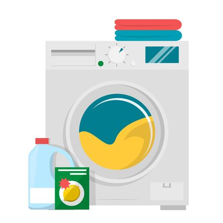 Washing machine, detergent and pile of clothes vector isolated. Household appliance, electrical equipment. Clean dirty clothes at home.