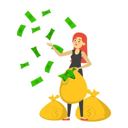 Happy rich woman holding the money bag and throwing green banknotes vector isolated. Successful businesswoman, wealthy person. Idea of finance and investment.