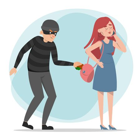 Thief stealing money from the purse vector isolated. Woman talking on the phone and does not notice the crime. Dangerous criminal taking wallet, pickpocket.
