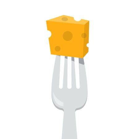 Cheese on the fork vector isolated. Element for cafe and restaurant menu. Healthy and delicious food. Dairy product