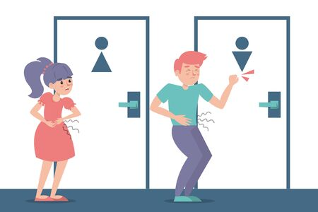 Children with a diarrhea waiting at the toilet door vector isolated. Girl and boy with pain in stomach. Belly disease. Person needs to get to the toilet.