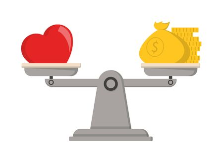 Money and love on scales vector isolated. Balance between personal life and career concept. Value of the relationship.