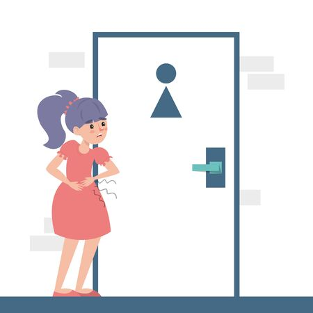 Child with a diarrhea waiting at the toilet door vector isolated. Girl with pain in stomach. Belly disease. Person needs to get to the toilet.