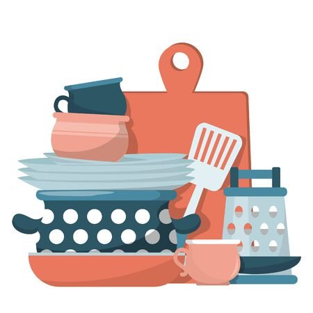 Pile of clean kitchenware vector isolated. Cooking pan and dishes, domestic work. Food cooking concept. Illustration